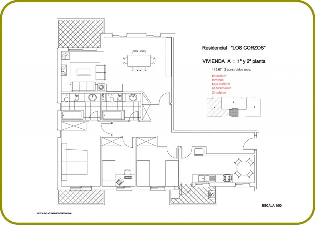 Residencial los corzos planos de viviendas venta de 2 for Muebles a escala 1 50 para planos